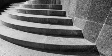 Close up picture of concrete steps poured in front of a business office in Cleveland, OH