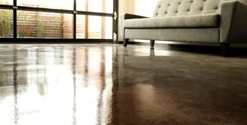 Close up of a brown stained concrete floor for an apartment in Cleveland, OH