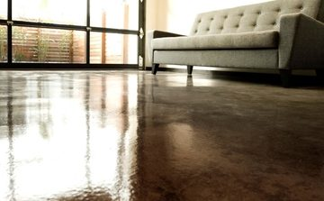 Picture of a stained concrete flooring for a living room in Fort Wayne, IN