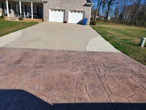 Picture of a stamped and stained concrete installation for a customer in Flint, MI