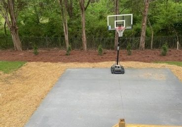 Picture of a concrete slab for a basketball court for a customer in Louisville, KY