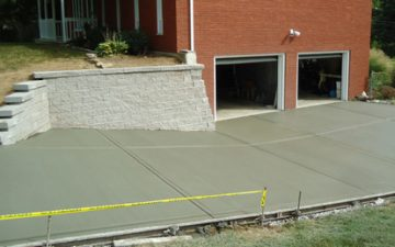 Newly poured concrete driveway installed for a customer in Lexington, KY