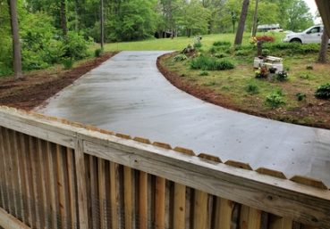 Picture of a new concrete drive that was installed in the back of a customers house in Ann Arbor, MI