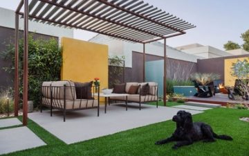 Picture of a backyard patio with a concrete pad, black lab with colorful furniture in Lexington, KY